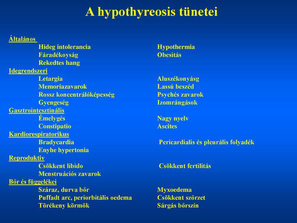 Vérnyomás és hypothyreosis